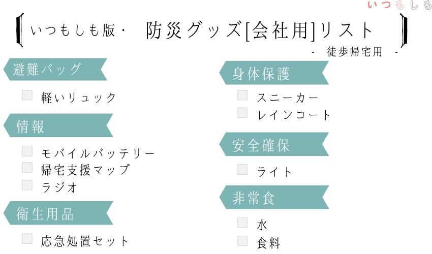 会社の備え_徒歩帰宅用リスト