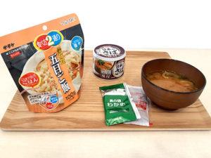 五目ご飯とサバ缶と味噌汁