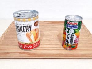 缶入りパンと長期保存野菜ジュース缶
