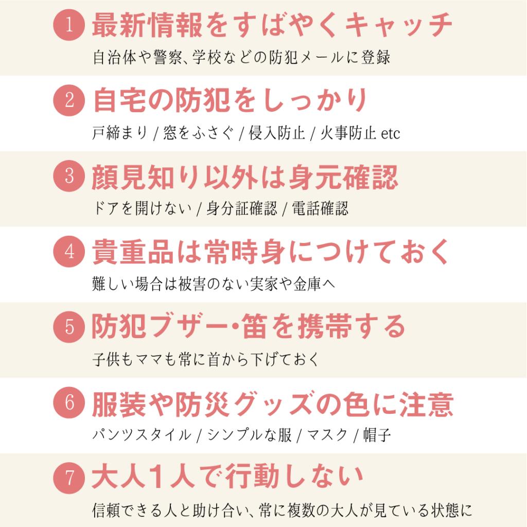防犯対策7か条の要約