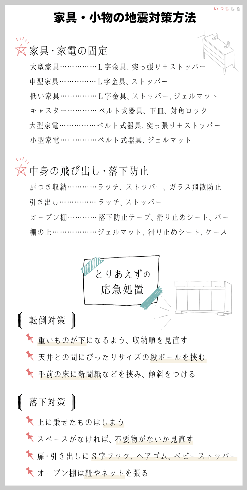 室内の地震対策実践編