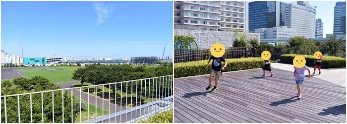 屋上庭園で走る