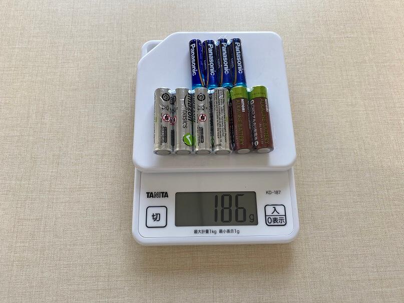 予備電池の重さ