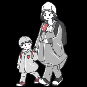 台風避難の服装(文字なし)