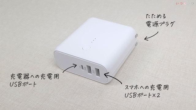 USB用モバイルバッテリー・急速充電器付
