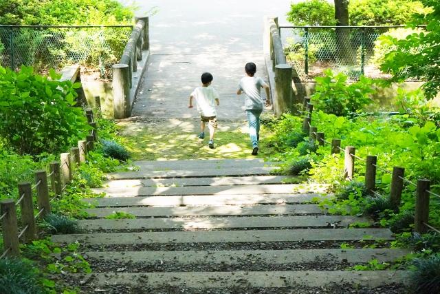 公園の階段を走る子どもたち